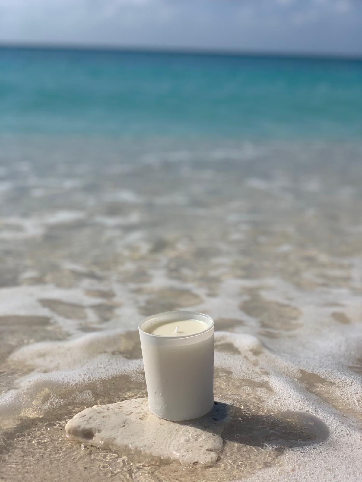scented candle amber scent Palm Heights beach