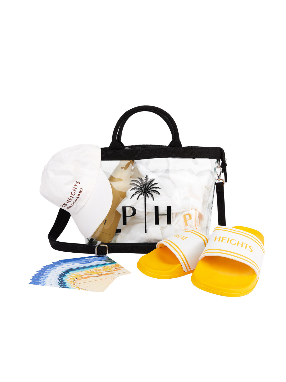 transparent beach bag Palm Heights with accessories