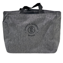Load image into Gallery viewer, gray tote bag with Plastic Surgery Group logo embroidered in black