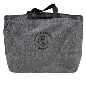 gray tote bag with Plastic Surgery Group logo embroidered in black