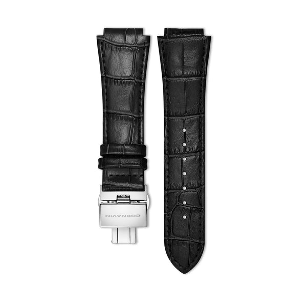 Black Leather Strap with Butterfly Clasp