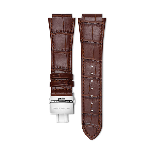 Brown Leather Strap with Butterfly Clasp