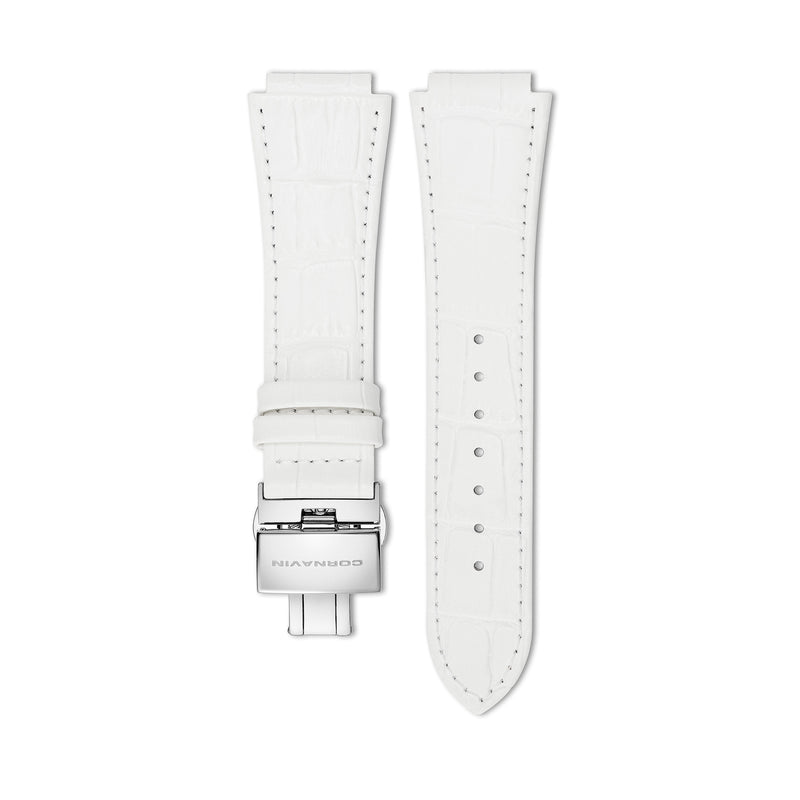 Downtown 3-H White Leather Strap
