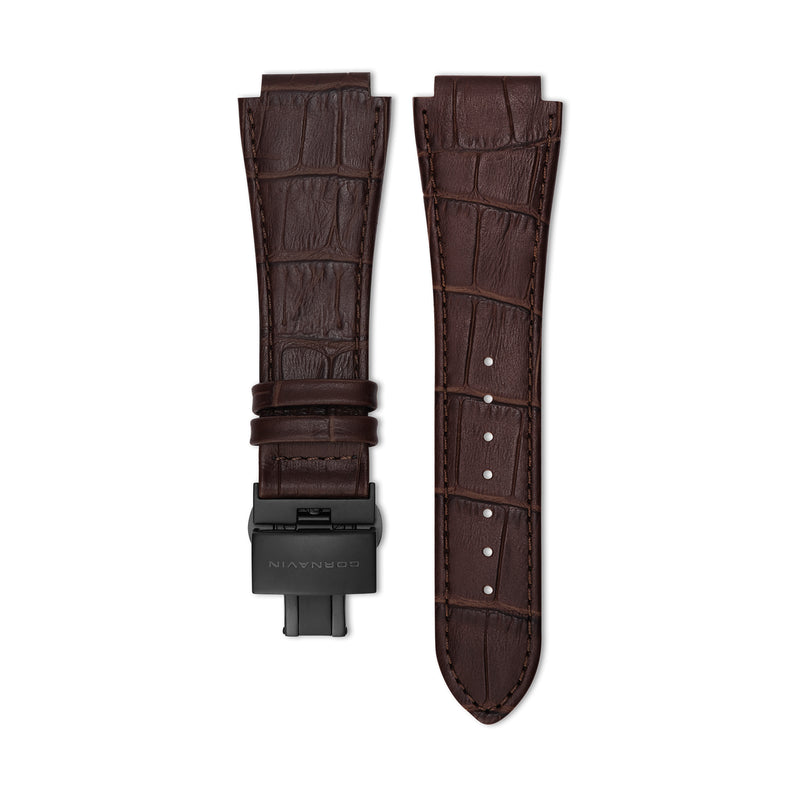 Dark Brown Leather Strap with Butterfly Clasp