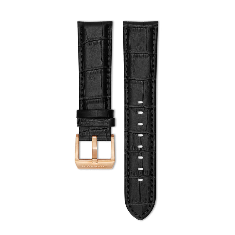 Big Date Black Leather Strap