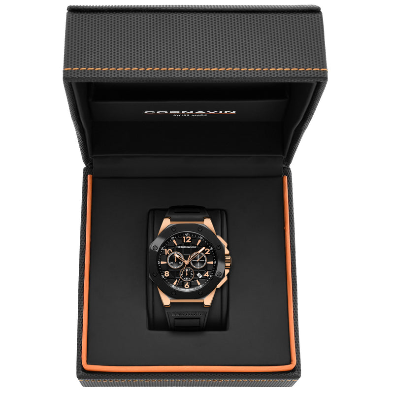 CORNAVIN CO 2012-2015R - Swiss Made Watch Chronograph with black bezel and Rose PVD Case