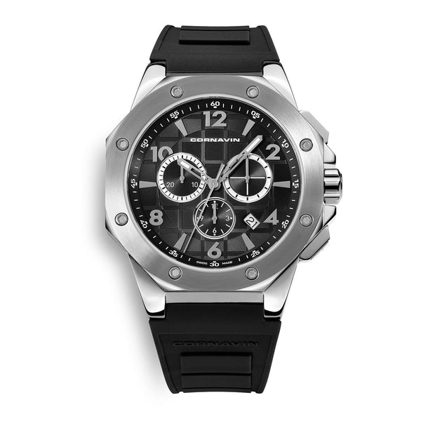 CORNAVIN CO 2012-2001R - Swiss Made Chronograph with a Stainless Steel case and Black Rubber Strap
