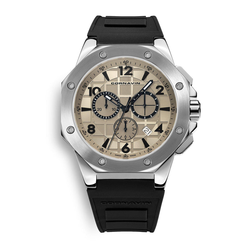 CORNAVIN CO 2012-2002R - Swiss Made Watch Chronograph with a Stainless Steel case and rubber strap
