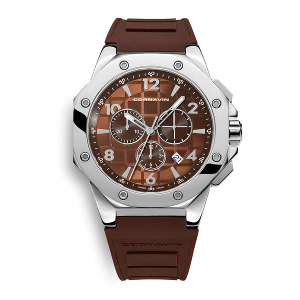 CORNAVIN CO 2012-2003R - Swiss Made Watch Chronograph with a brown dial and rubber strap