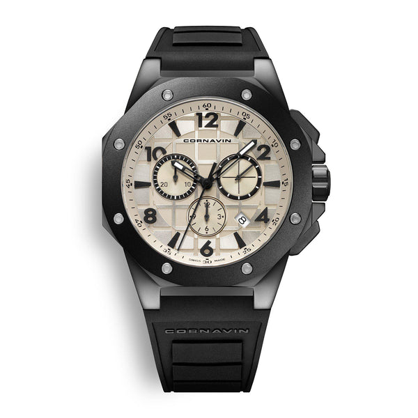 CORNAVIN CO 2012-2007R - Swiss Made Watch Chronograph with black pvd case and rubber strap