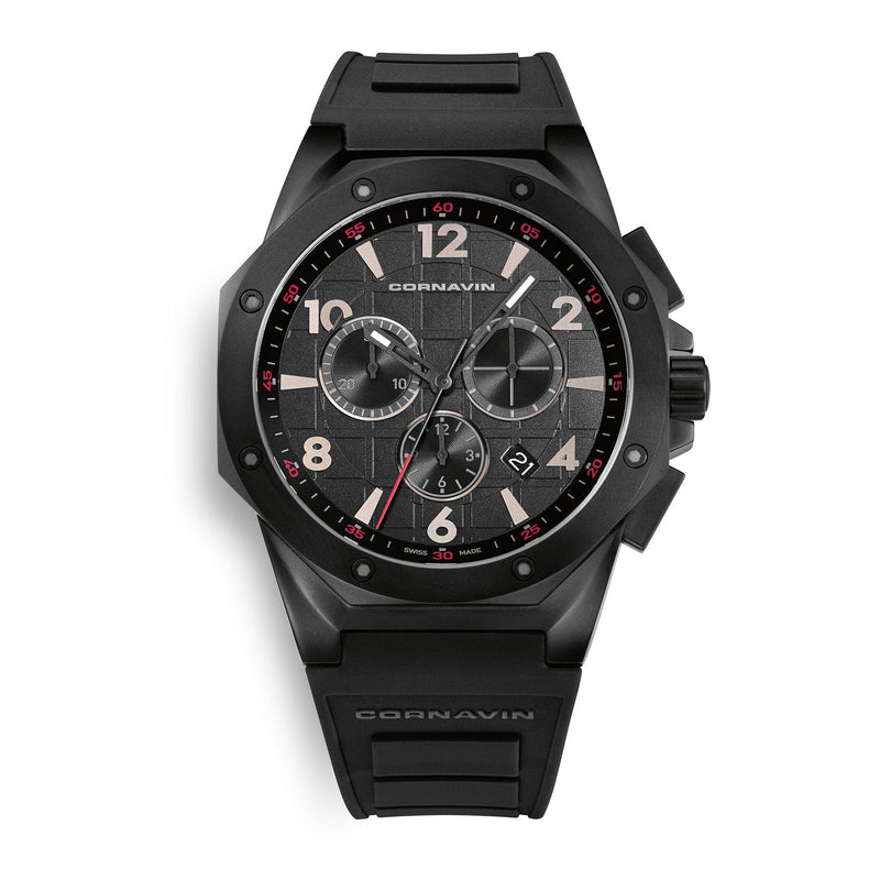 CORNAVIN CO 2012-2008R - Swiss Made Watch Chronograph with Black PVD Case and Rubber Strap