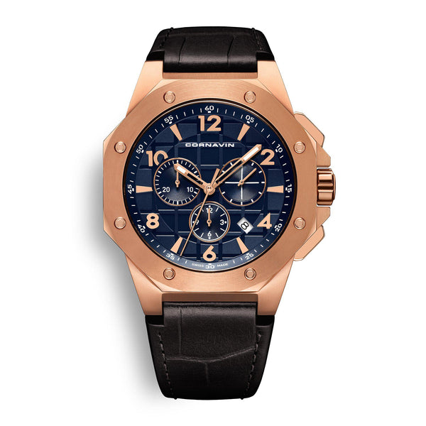 CORNAVIN CO 2012-2012R - Swiss Made Watch Chronograph with a rose gold PVD Case and black leather strap