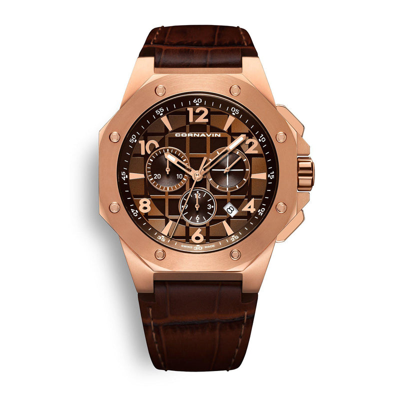 CORNAVIN CO 2012-2016R - Swiss Made Watch Chronograph with Rose Gold PVD Case and Brown Dial and Leather Strap
