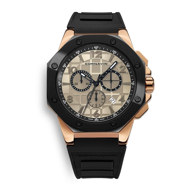 CORNAVIN CO 2012-2019R - Swiss Made Watch Chronograph with Black Bezel and Black Rubber Strap