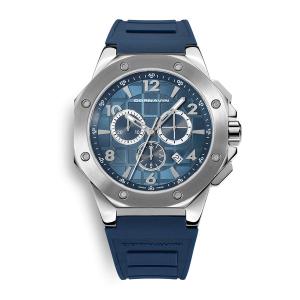 CORNAVIN CO 2012-2020R - Swiss Made Watch Chronograph wit a blue dial and blue rubber strap
