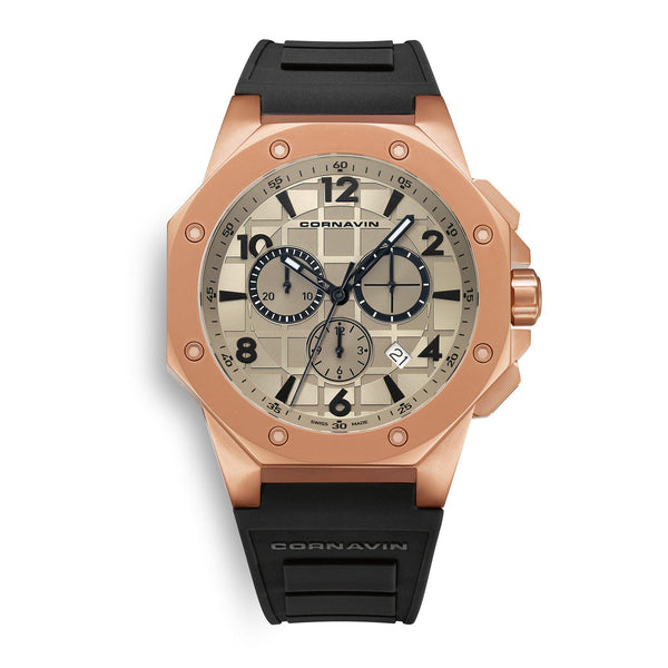 CORNAVIN CO 2012-2021R - Swiss Made Watch Chronograph matt rose gold PVD cas and rubber strap