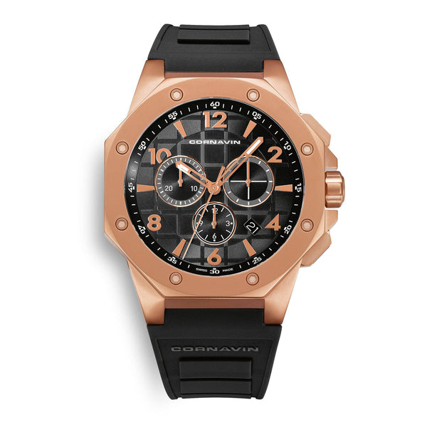 CORNAVIN CO 2012-2022R - Swiss Made Watch Chronograph with a matt rose gold PVD case and rubber strap