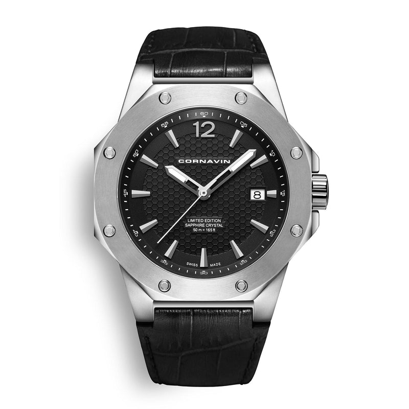 CORNAVIN CO 2021-2001 - Swiss Made Watch with a stainless steel case and black leather strap