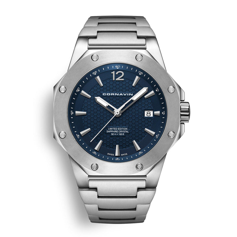 CORNAVIN CO 2021-2026 - Swiss Made Watch with a blue dial and stainless steel bracelet.
