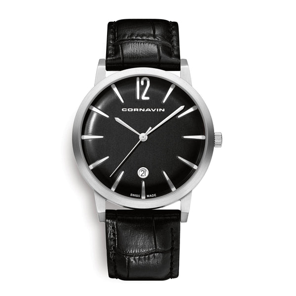 Cornavin Bellevue Swiss Made Watch with a black dial and leather strap