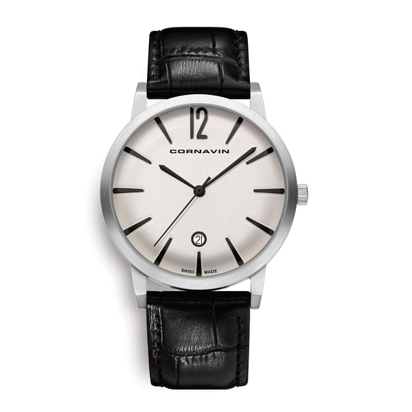 Cornavin Swiss Made Watch of the Bellevue collection with a black leather strap