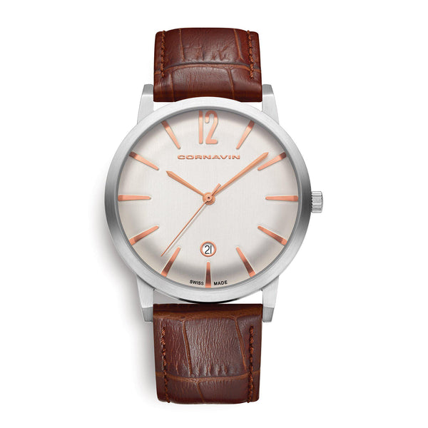 Cornavin Swiss Made Bellvue Watch with a brown leather strap