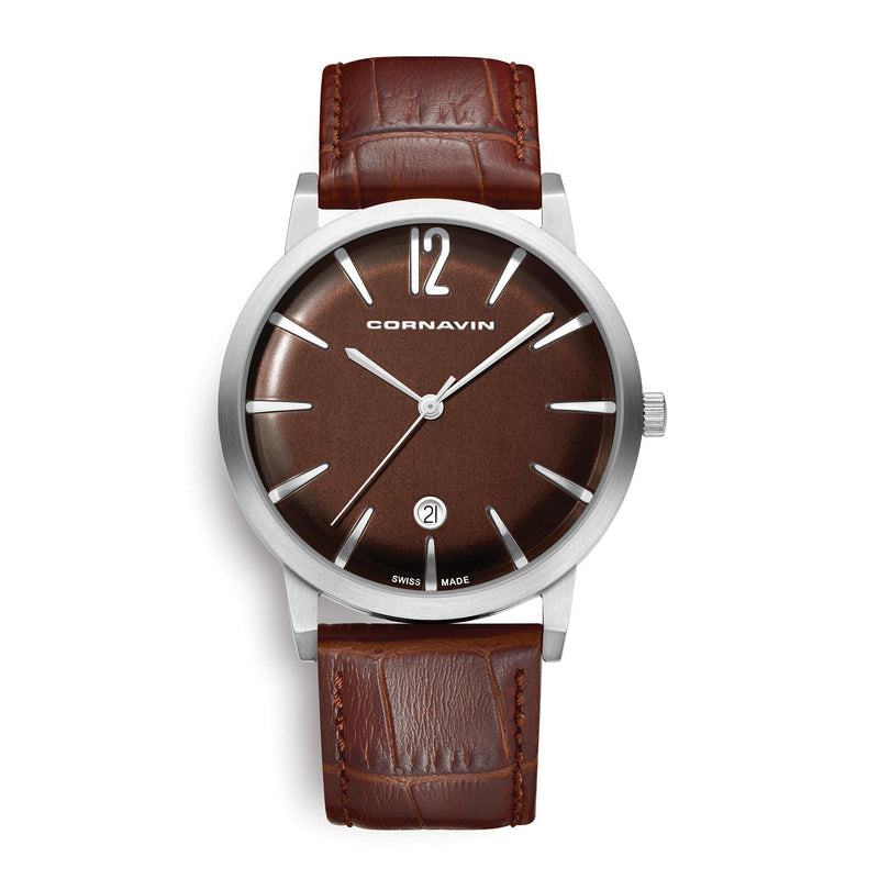 Cornavin Swiss Made Bellevue Watch with a brown dial and leather strap