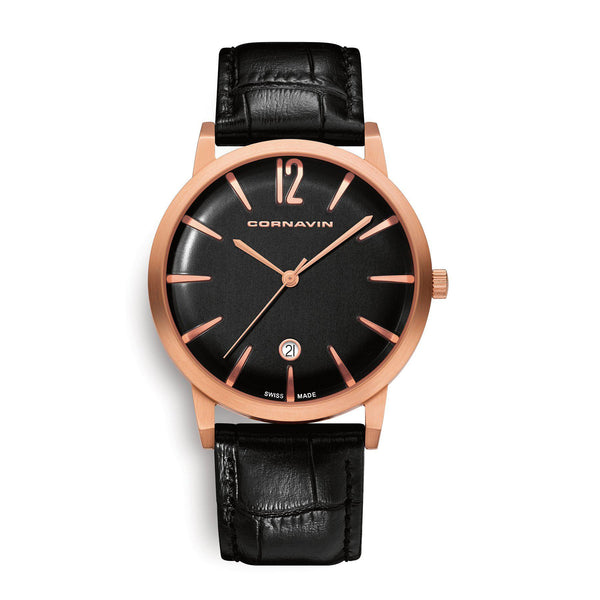 Cornavin Swiss Made Bellevue Watch with rose gold PVD case and leather strap