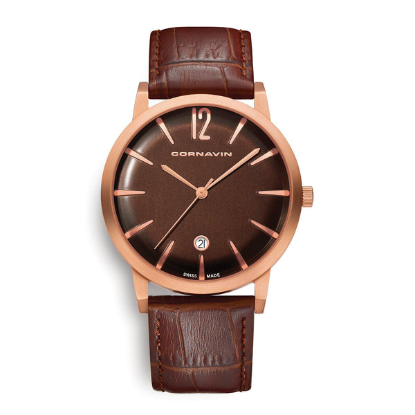 Cornavin Swiss Made Watch Bellevue with a rose gold PVD case and brown leather strap