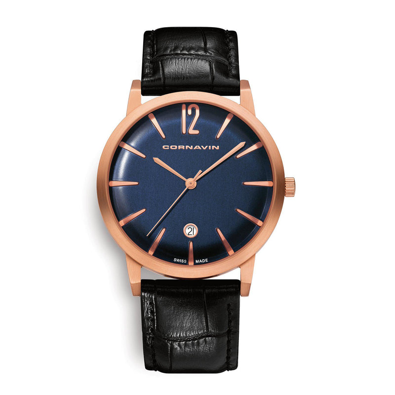 Cornavin Swiss Made Watch Bellevue with a blue dial and rose PVD case
