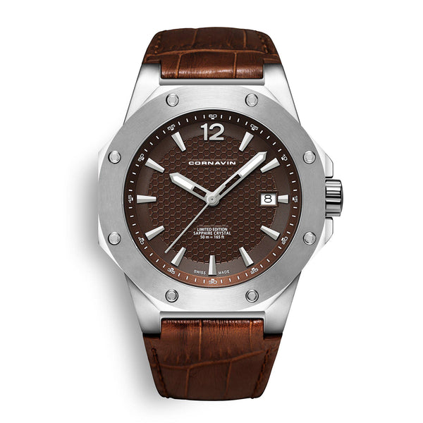 CORNAVIN CO 2021-2003 - Swiss Made Watch with a brown dial and leather strap