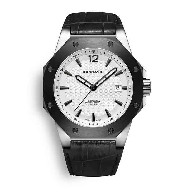 CORNAVIN CO 2021-2006 - Swiss Made Watch with black bezel and white dial