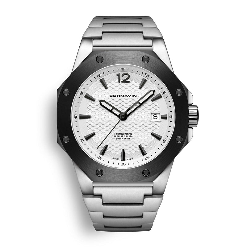 CORNAVIN CO 2021-2008 - Cornavin Swiss Made Watch with a black bezel and white dial