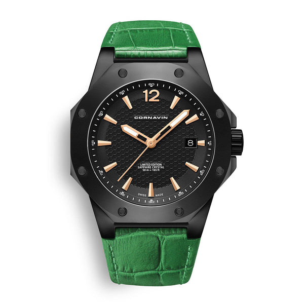 CORNAVIN CO 2021-2009 - Swiss Made Watch with a black PVD case and green leather strap