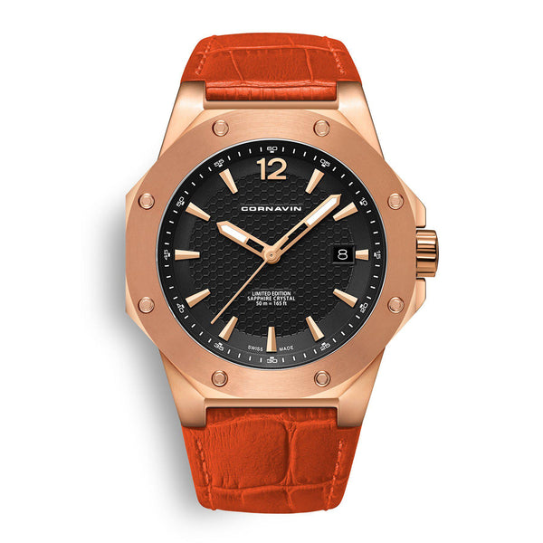 CORNAVIN CO 2021-2011 - Swiss Made Watch with a rose gold PVD case and orange leather strap