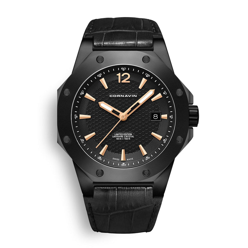 CORNAVIN CO 2021-2012 - Swiss Made Watch with a black PVD case and black dial