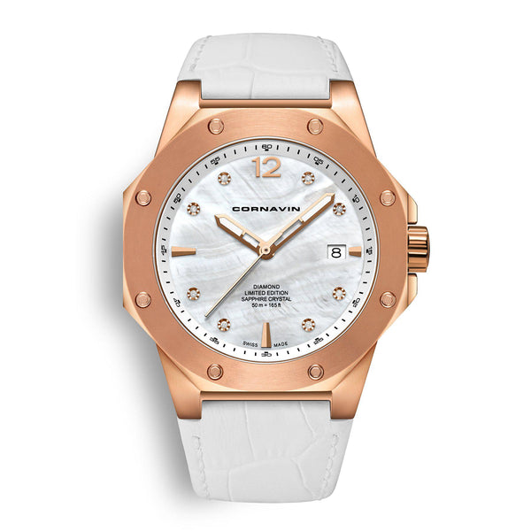 CORNAVIN CO 2021-2013 DIAMOND EDITION - Swiss Made Watch with a rose gold PVD case and white mop dial
