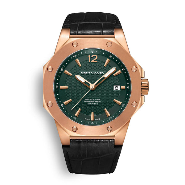 CORNAVIN CO 2021-2014 - Swiss Made Watch with rose gold PVD case and green dial