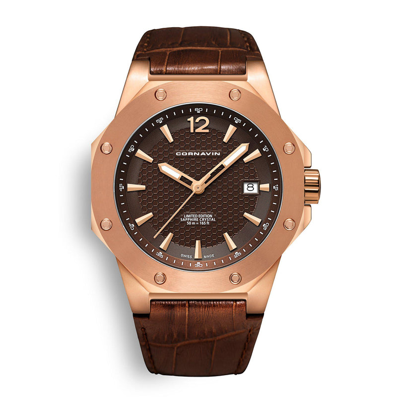 CORNAVIN CO 2021-2016 - Swiss Made Watch with a rose gold PVD case and brown leather strap