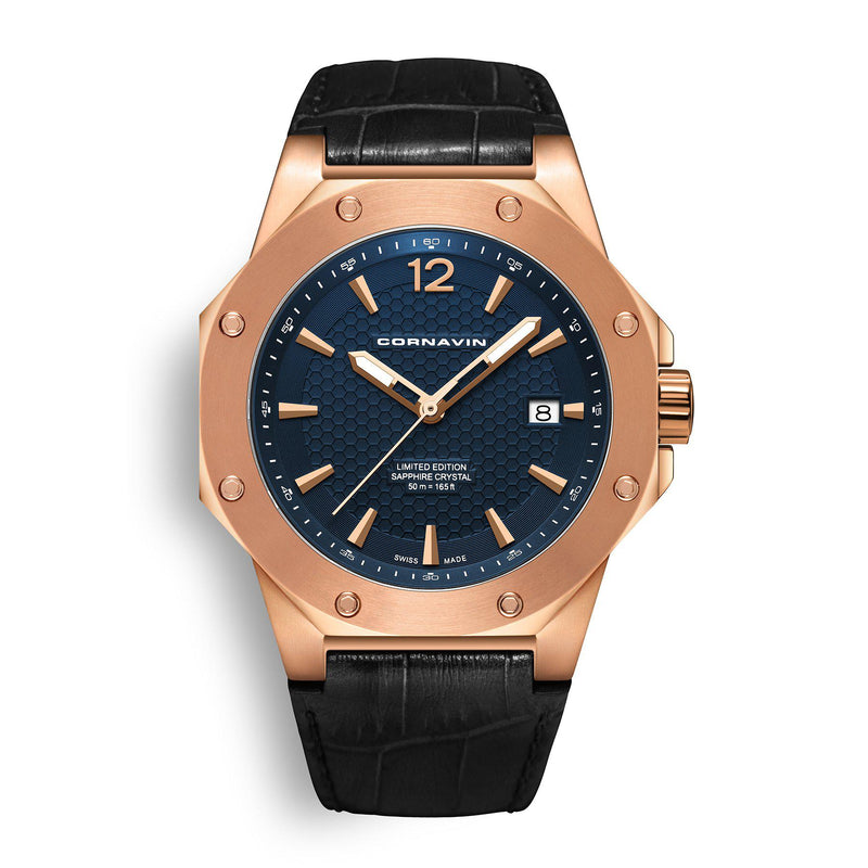 CORNAVIN CO 2021-2018 - Swiss Made Watch with rose gold PVD case and blue dial
