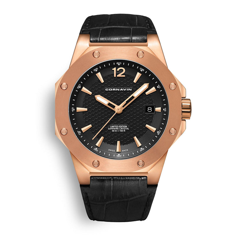 CORNAVIN CO 2021-2020 - Swiss Made Watch with a rose gold PVD case and black dial