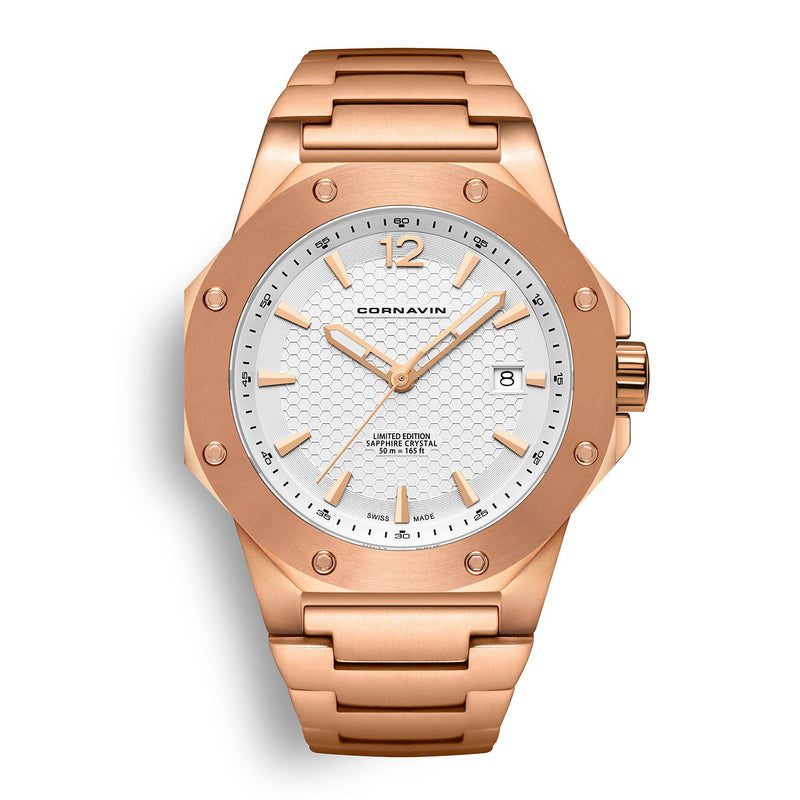 CORNAVIN CO 2021-2021 - Swiss Made Watch with a rose gold PVD case and white dial
