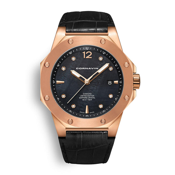 CORNAVIN CO 2021-2024 DIAMOND EDITION - Swiss Made Watch with black MOP dial and rose gold PVD case