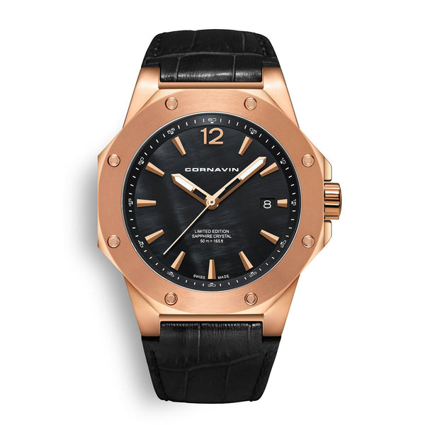 CORNAVIN CO 2021-2024 - Swiss Made Watch with rose gold PVD case and black MOP dial