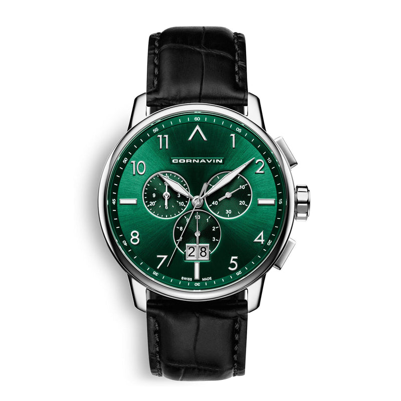 CORNAVIN CO.BD.05.L - Swiss Made Watch with Big Date and a green dial
