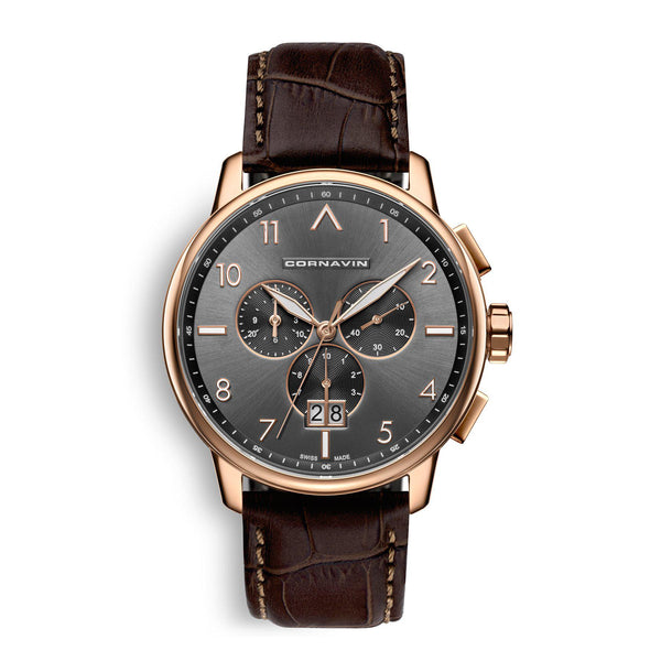 CORNAVIN CO.BD.08.L - Swiss Made Big Date Watch with rose gold PVD case and Brown leather strap