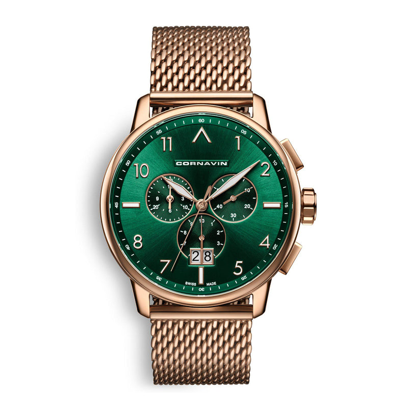 CORNAVIN CO.BD.10.B - Swiss Made Big Date Watch with a green dial