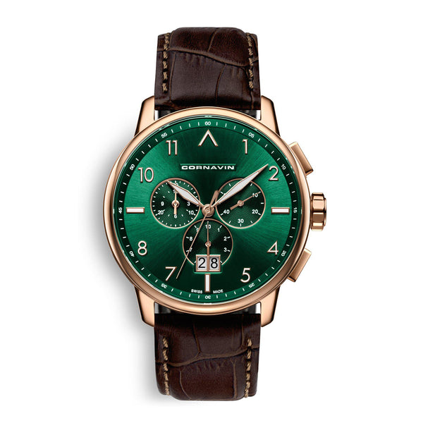 CORNAVIN CO.BD.10.L - Swiss Made Big Date Watch with a green dial