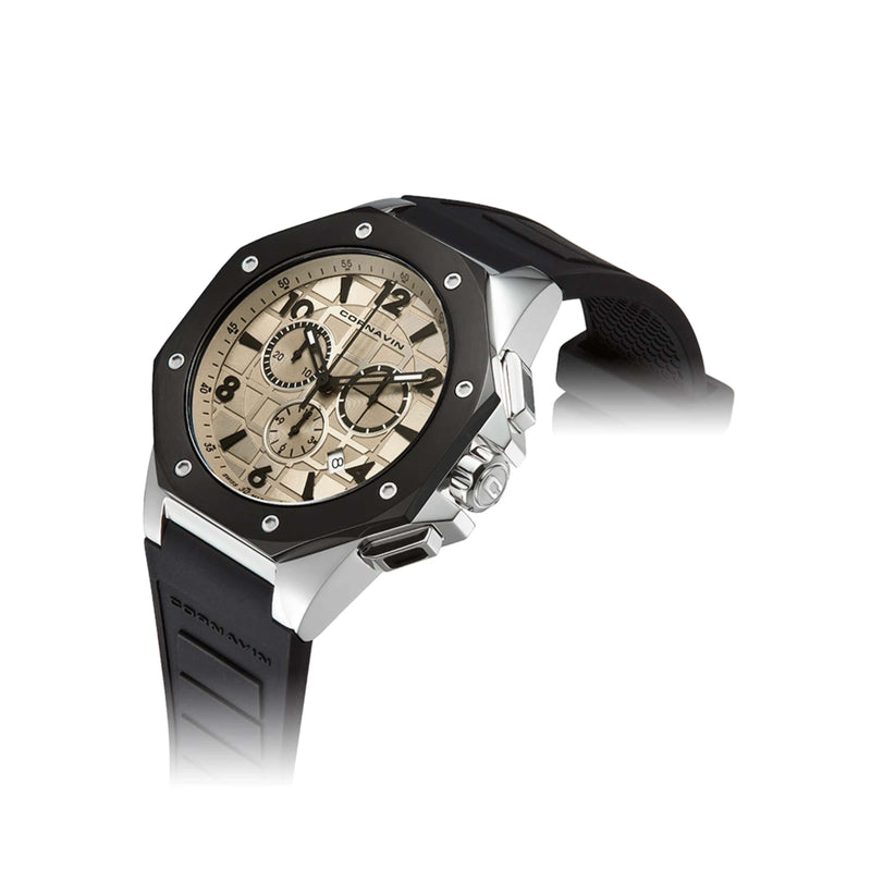 CORNAVIN CO 2012-2006R - Swiss Made Watch Chronograph with Stainless Steel Case and black rubber strap