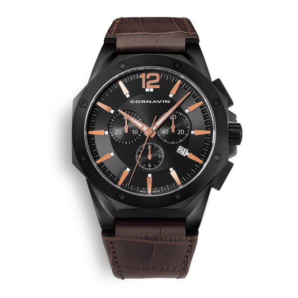 CORNAVIN CO 2010-2022 - Swiss Made Watch Chronograph with black a PVD case and leather strap